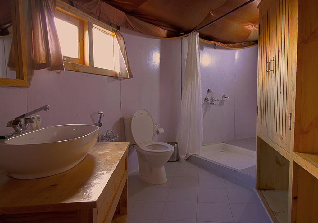 Bathroom Facility at the Nubra Sarai
