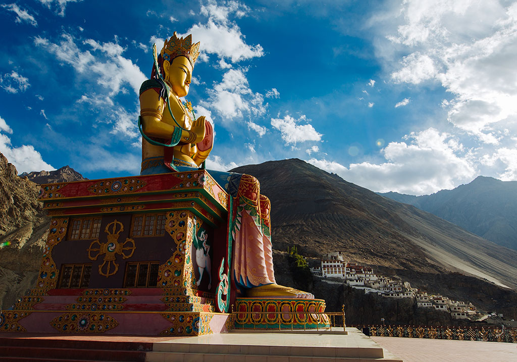 Giant statue if Buddha overlooking Nubra Valley