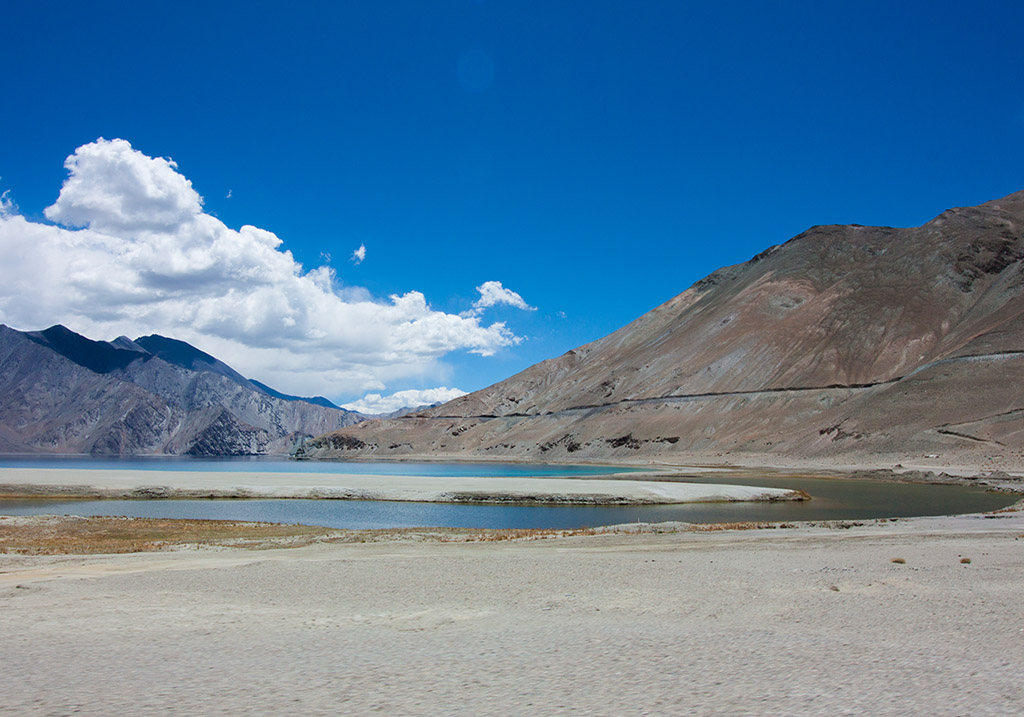 Sandbars near the shores of Pangong Lake