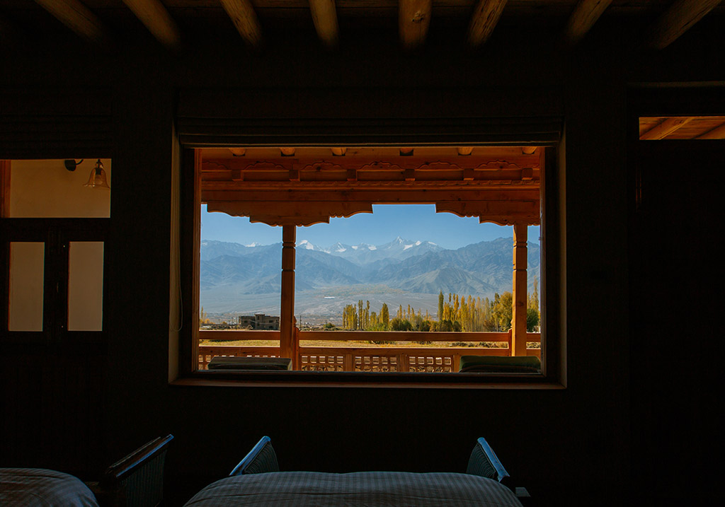 View from the bed at the Chalet