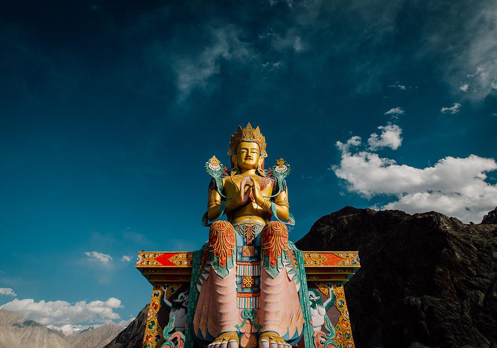 Giant statue if Buddha overlooking Nubra Valley